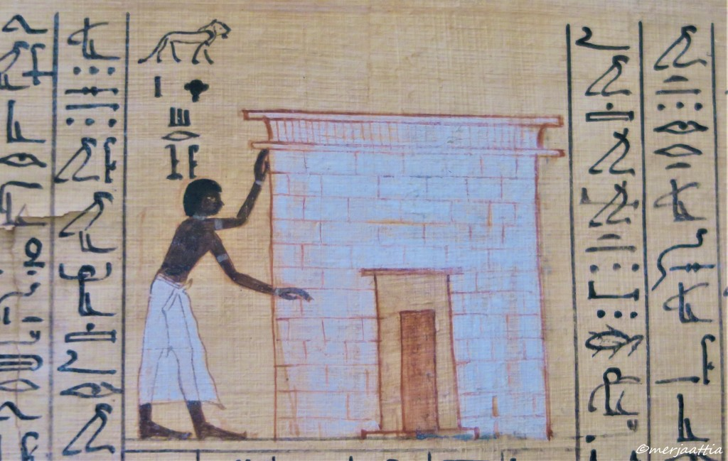 Book of the Dead section, showing Maiherpri in front of a tomb.