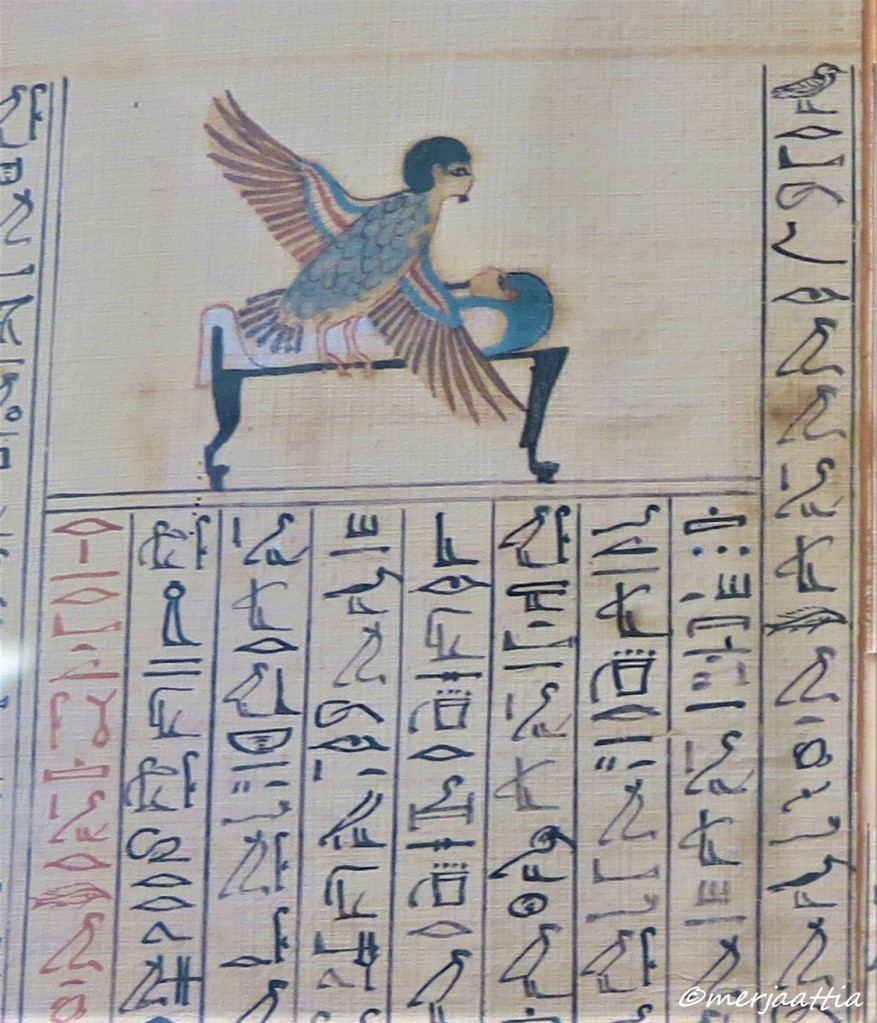 Section of Book of the Dead, the Ba of Maiherpri visiting his coffin