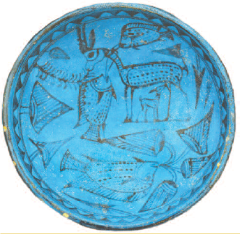 Blue bowl with gazelle, fish, and flowers