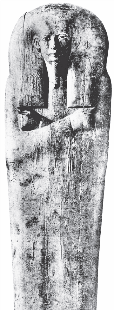 Black and white image of outer coffin